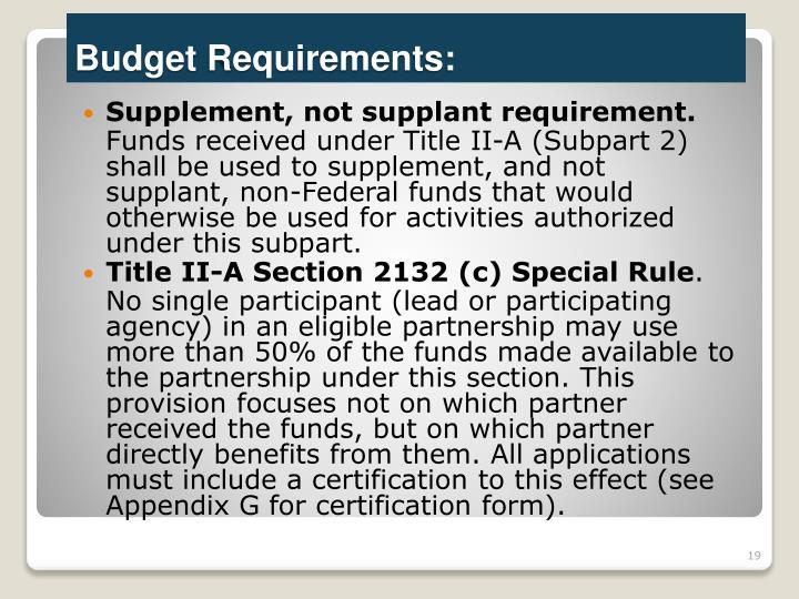 Supplement, not supplant requirement.