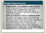 budget requirements