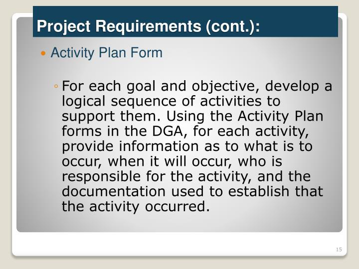 Activity Plan Form