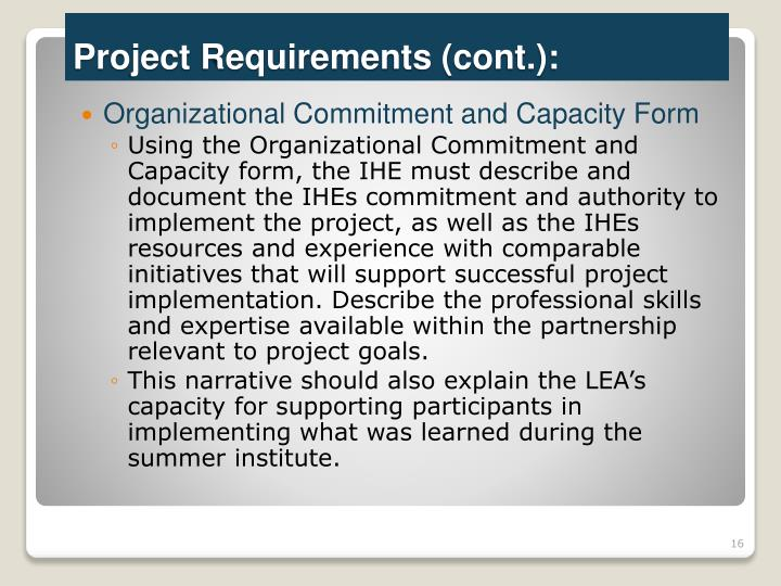Organizational Commitment and Capacity Form