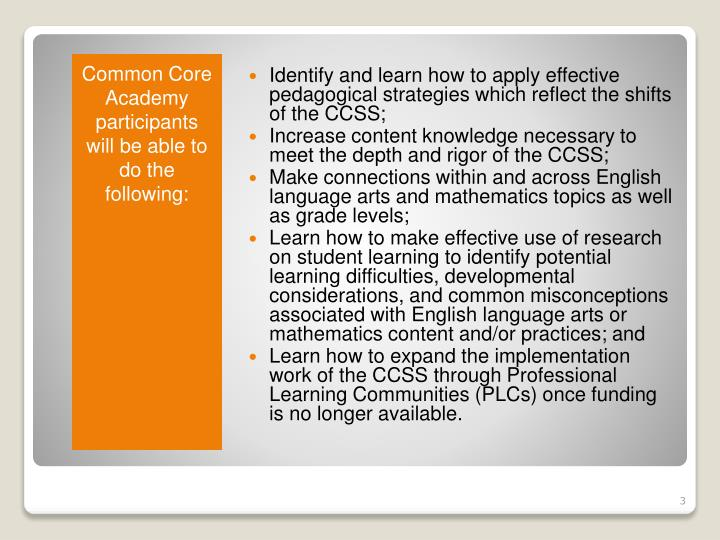 Identify and learn how to apply effective pedagogical strategies which reflect the shifts of the CCSS;