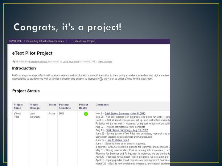Congrats, it's a project!