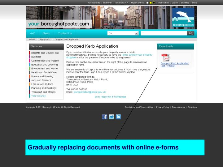 Gradually replacing documents with online e-forms