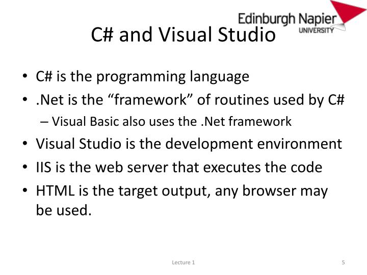 C# and Visual Studio
