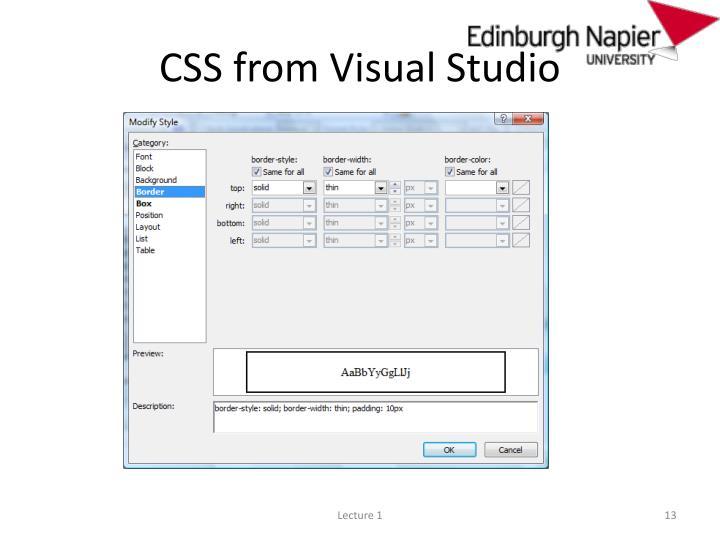CSS from Visual Studio