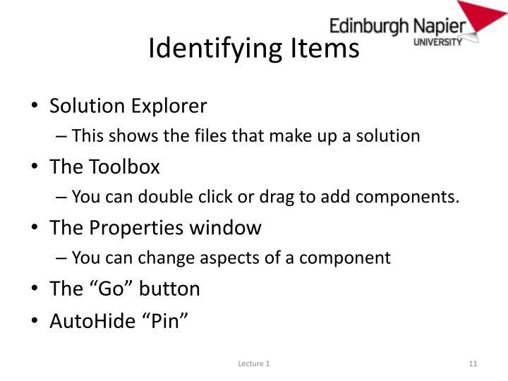 Identifying Items