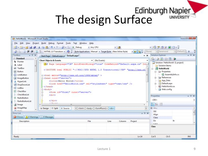 The design Surface