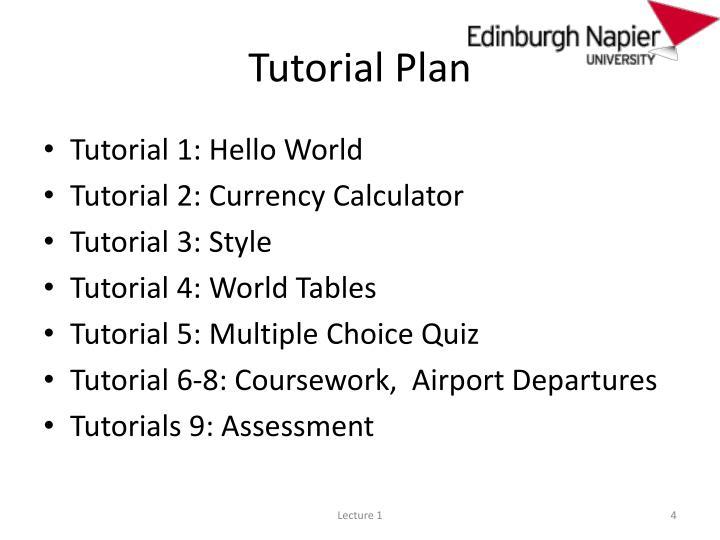 Tutorial Plan