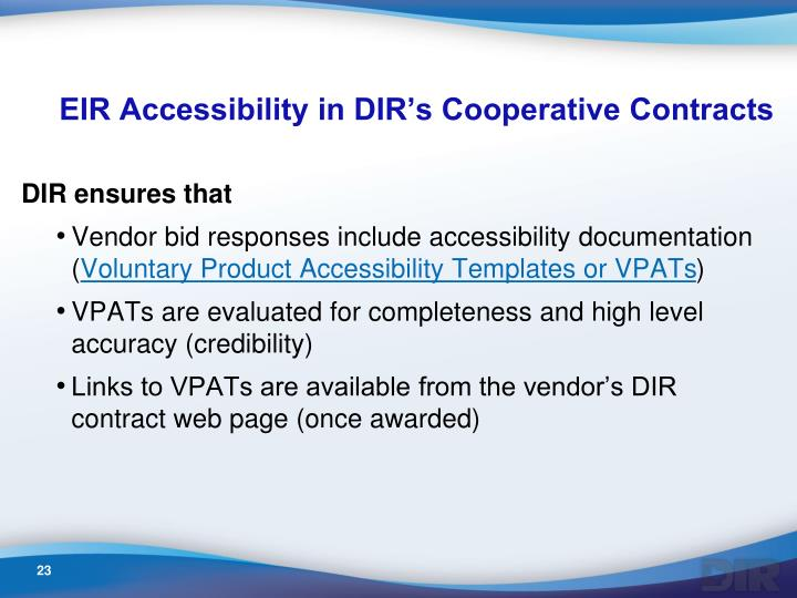 EIR Accessibility in DIR's Cooperative Contracts
