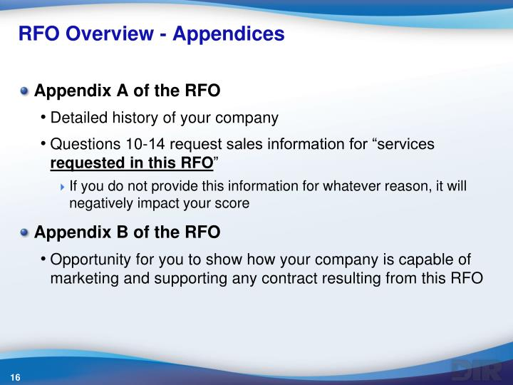 RFO Overview - Appendices