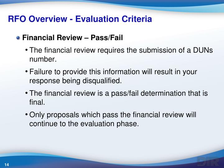 RFO Overview - Evaluation Criteria