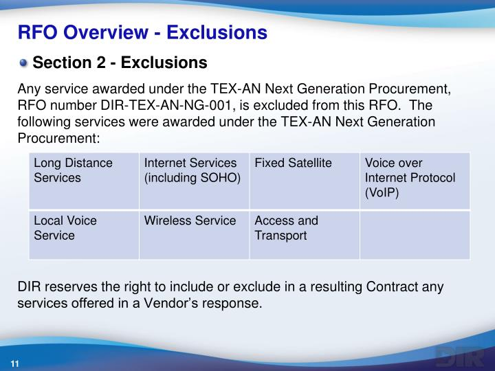 RFO Overview - Exclusions