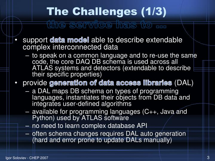 The Challenges (1/3)