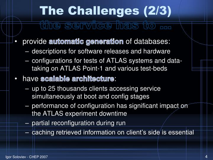 The Challenges (2/3)