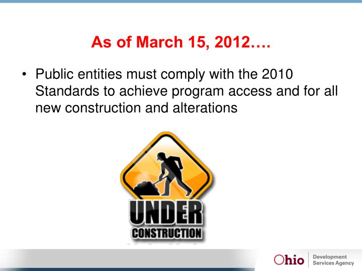 As of March 15, 2012….