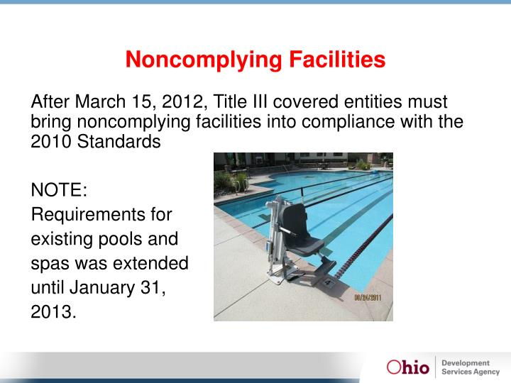 Noncomplying Facilities