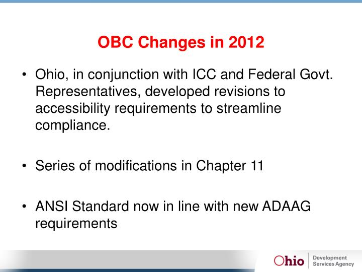 OBC Changes in 2012