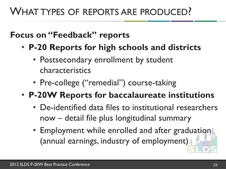 What types of reports are produced?