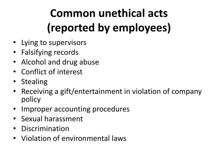 Common unethical acts