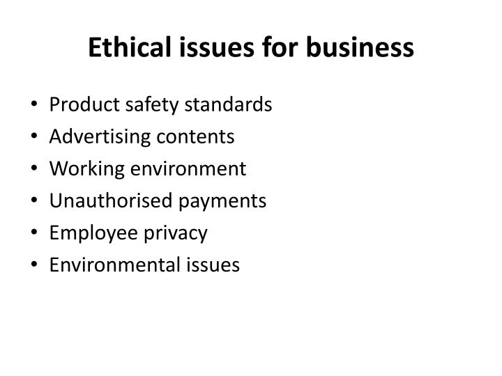 Ethical issues for business