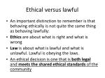 ethical versus lawful