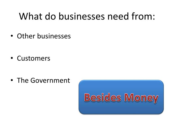 What do businesses need from: