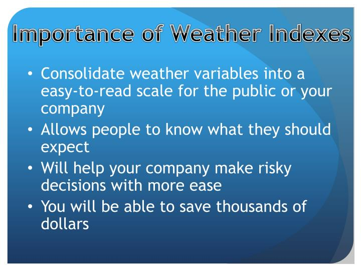 Importance of Weather Indexes