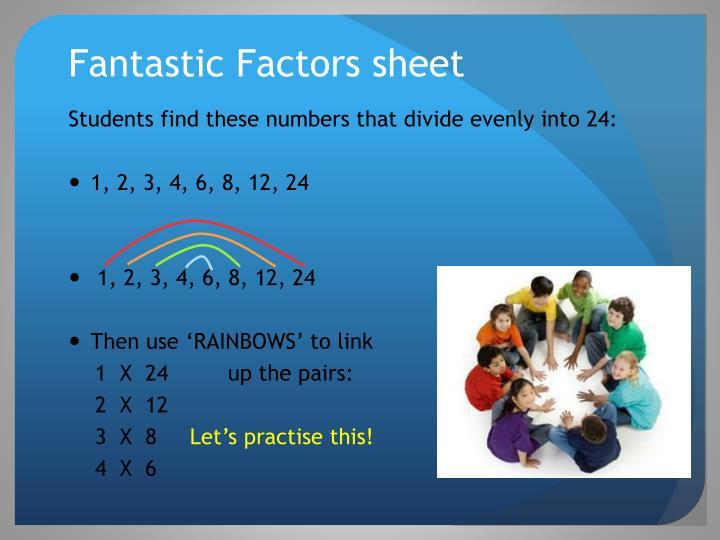 Fantastic Factors sheet