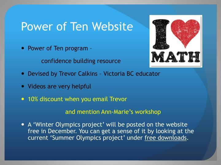 Power of Ten Website