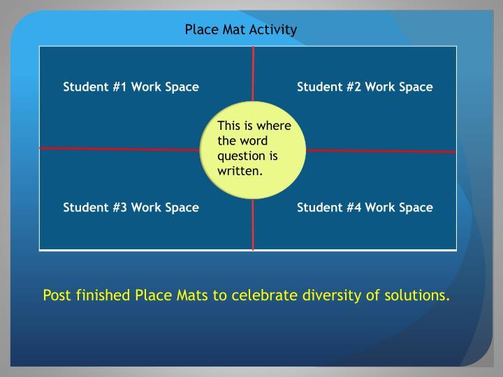 Place Mat Activity