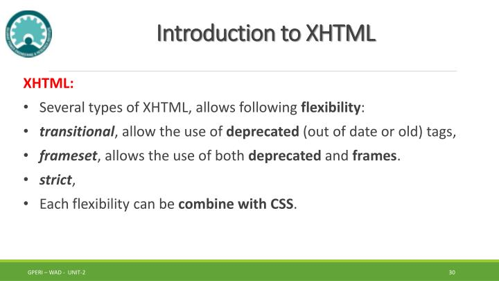 Introduction to XHTML