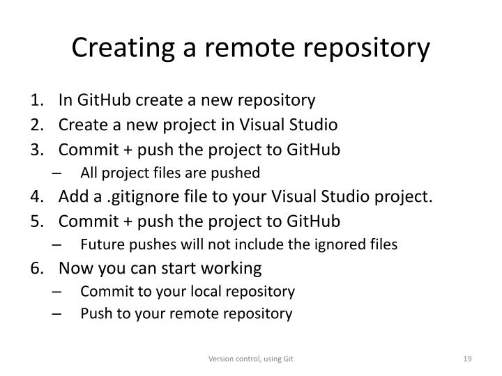 Creating a remote repository