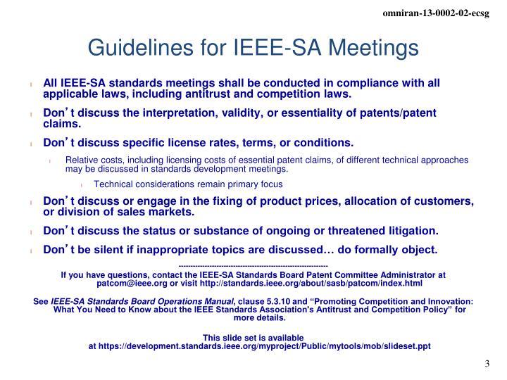 Guidelines for IEEE-SA Meetings