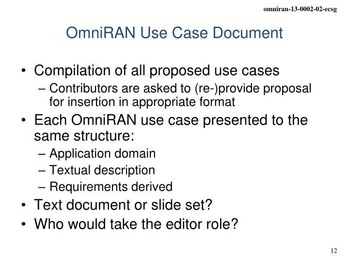OmniRAN Use Case Document