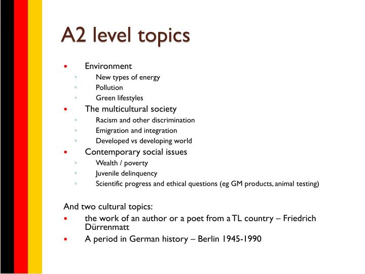 A2 level topics