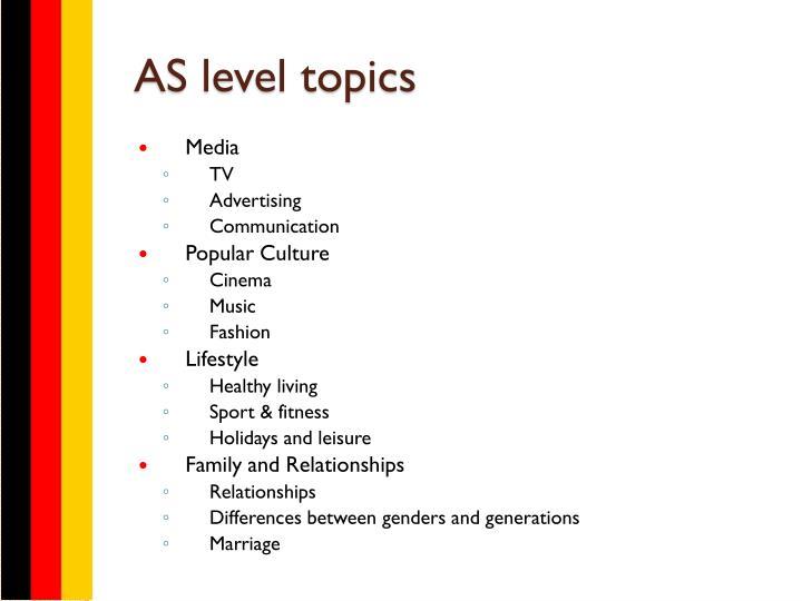 AS level topics