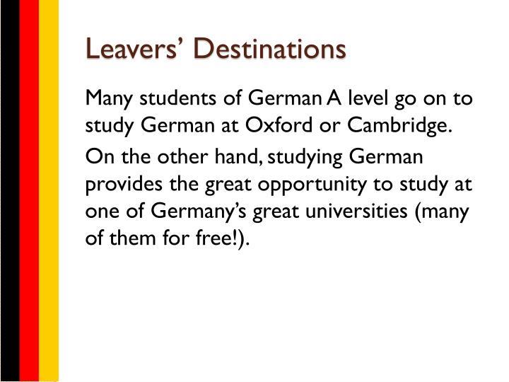 Leavers' Destinations