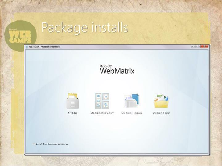 Package installs