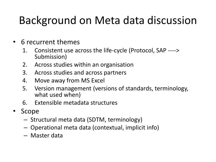 Background on Meta data discussion