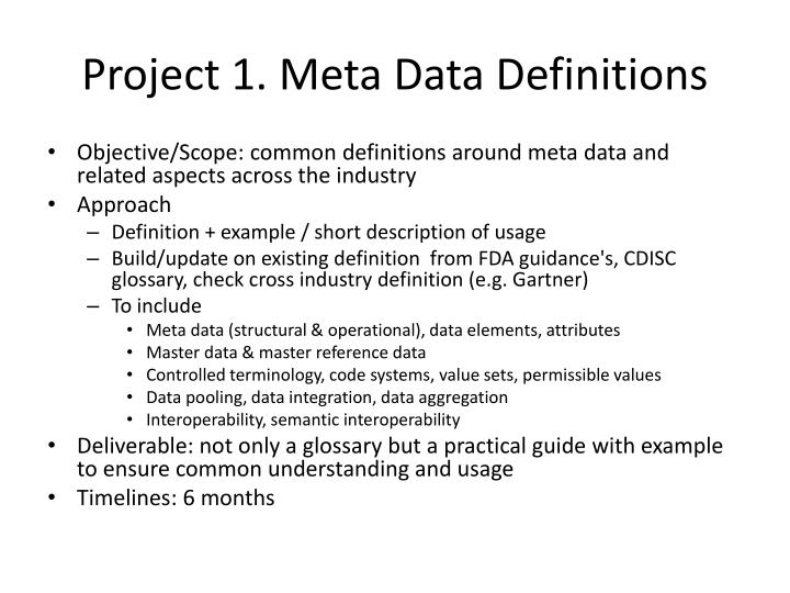 Project 1. Meta Data Definitions