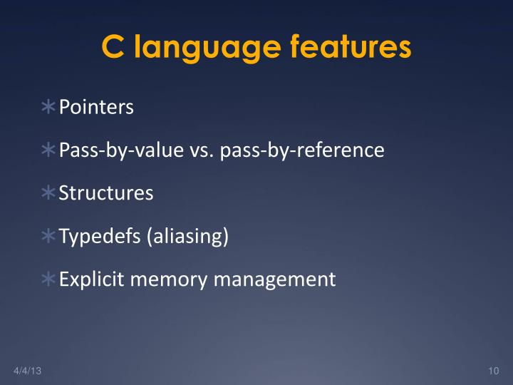 C language features