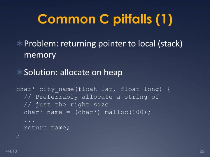 Common C pitfalls (1)