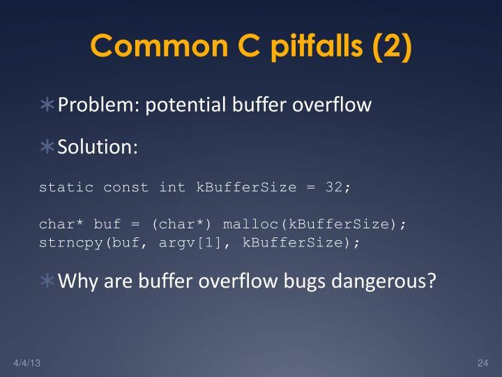 Common C pitfalls (2)