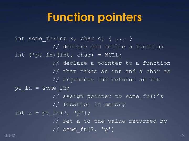 Function pointers