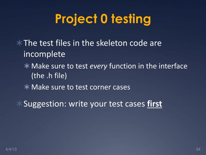 Project 0 testing