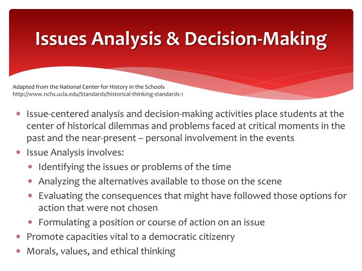 Issues Analysis & Decision-Making