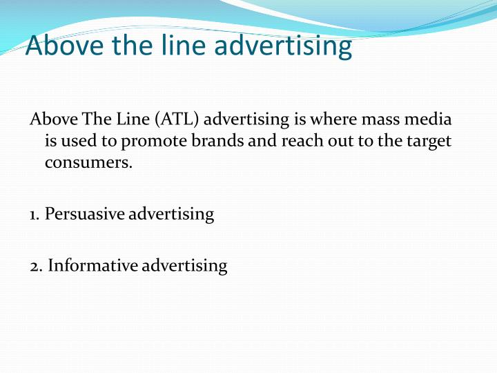 Above the line advertising