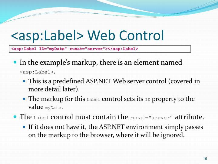 <asp:Label> Web Control