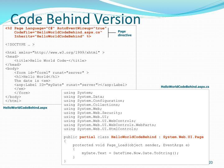 Code Behind Version