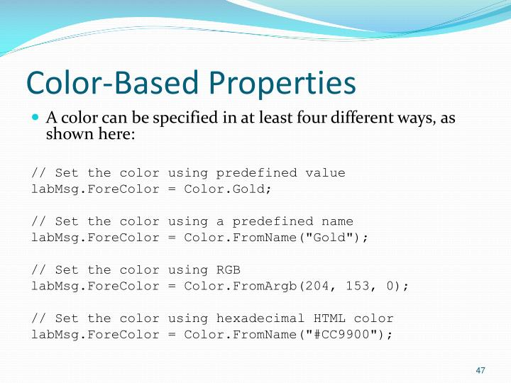 Color-Based Properties